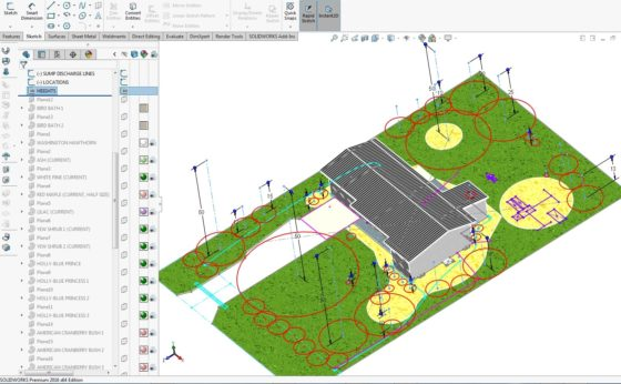 Landscaping Plan in CAD - Heights and profiles of plants trees shrubs 2