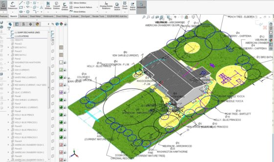 Landscaping Plan in CAD - Locating plants trees shrubs 2