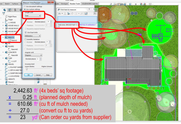 Landscaping Plan in CAD - calculating mulch cubic yards to order