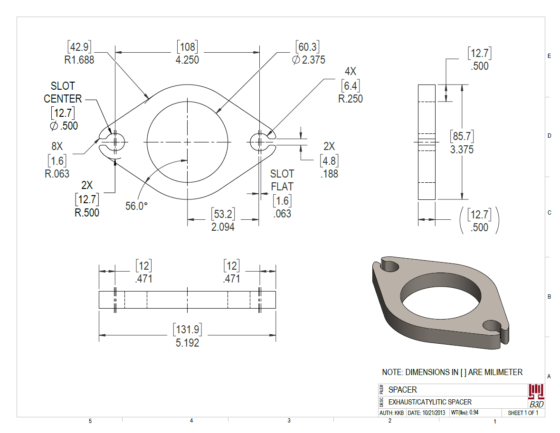 SIMPLE REPLACEMENT PART OR ADAPTER - DRAWING PRINT