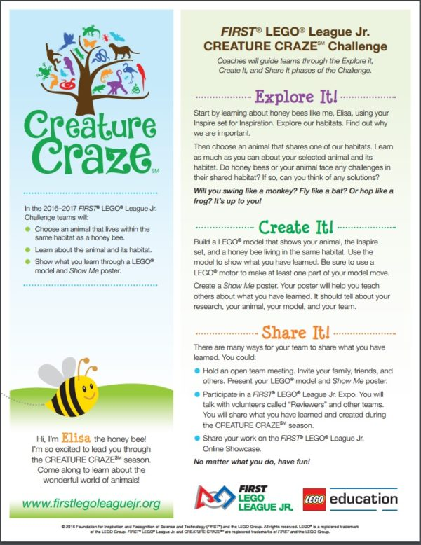 LEGO LEAGUE JR 2016 - CREATURE CRAZE HONEY BEE DOCUMENT