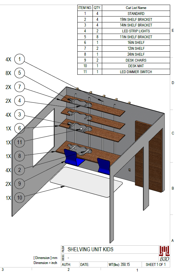 CAD model and drawing of desk build with shopping list