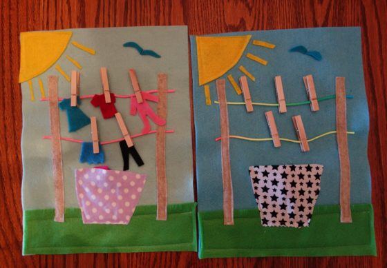 "Cloth ""Quiet Book"" Pages, from Holly's latest hand-made children's activity books - Let's hang the laundry out to dry"