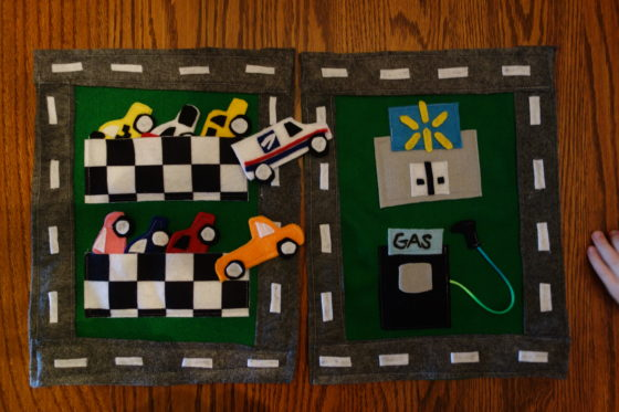 "Cloth ""Quiet Book"" Pages, from Holly's latest hand-made children's activity books - Max Loves Cars, Wal-Mart and Mail Delivery"
