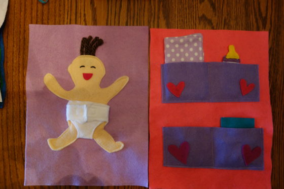 "Cloth ""Quiet Book"" Pages, from Holly's latest hand-made children's activity books - Let's change the baby"
