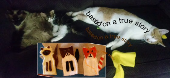 "Cloth ""Quiet Book"" Pages, from Holly's latest hand-made children's activity books - Kitten models need their beauty rest"