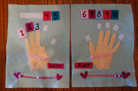 "Cloth ""Quiet Book"" Pages, from Holly's latest hand-made children's activity books - This is how we use our fingers to count"