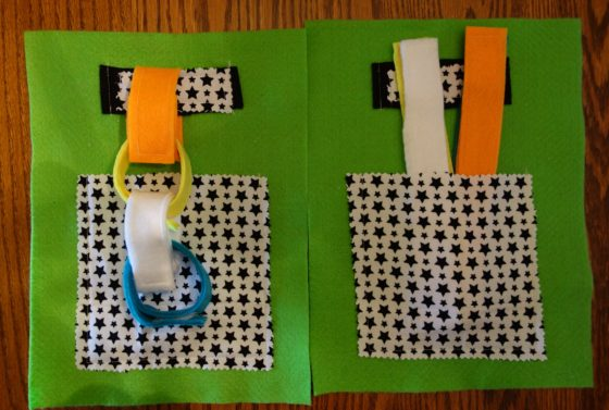 "Cloth ""Quiet Book"" Pages, from Holly's latest hand-made children's activity books - This is how we make a chain"