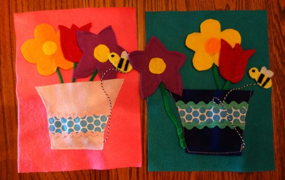 "Cloth ""Quiet Book"" Pages, from Holly's latest hand-made children's activity books - Busy little bee buzzes around the bouquet"