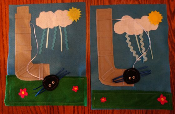 "Cloth ""Quiet Book"" Pages, from Holly's latest hand-made children's activity books - Let's sing the Itsy Bitsy Spider song"