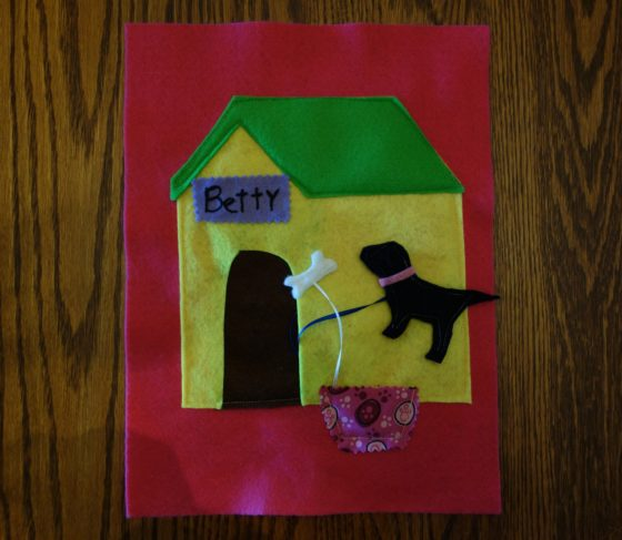 "Cloth ""Quiet Book"" Pages, from Holly's latest hand-made children's activity books - That's our pet dog Betty"