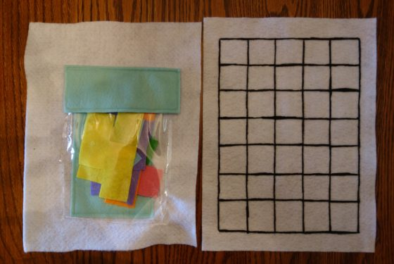 "Cloth ""Quiet Book"" Pages, from Holly's latest hand-made children's activity books - Tetris Puzzle 1 - Fit all the pieces together"