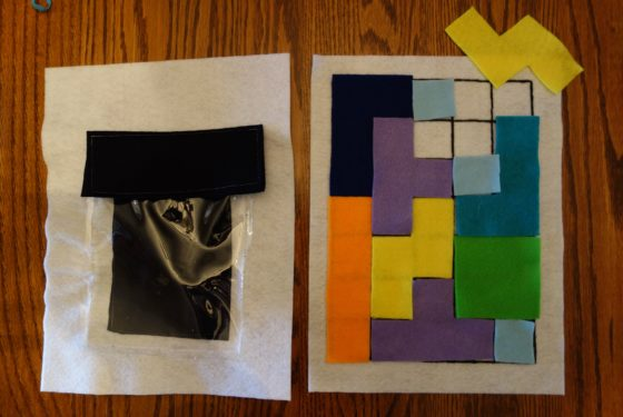 "Cloth ""Quiet Book"" Pages, from Holly's latest hand-made children's activity books - Tetris Puzzle 2 - Fit all the pieces together"