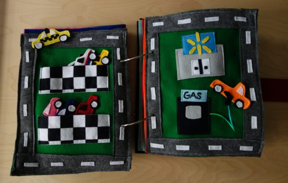 Finished Felt Quiet Books 10 - Max Drives to his Favorite Store