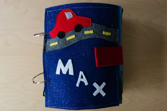 Finished Felt Quiet Books 1a - Front Cover Car on Road for Max