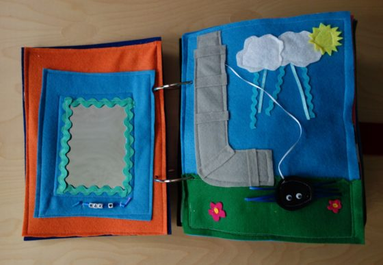 Finished Felt Quiet Books 2a - Mirror and Itsy Bitsy Spider Water Spout
