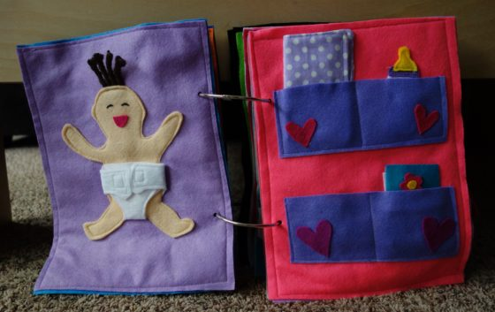 Finished Felt Quiet Books 3 - Change the baby's diaper spread