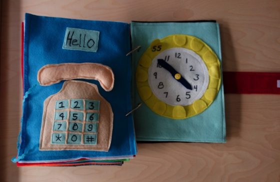 Finished Felt Quiet Books 3a - Let's learn our Phone Number and how the Clock Works