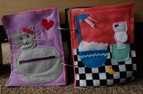 Finished Felt Quiet Books 4 - Mamma Kitty & Bathroom