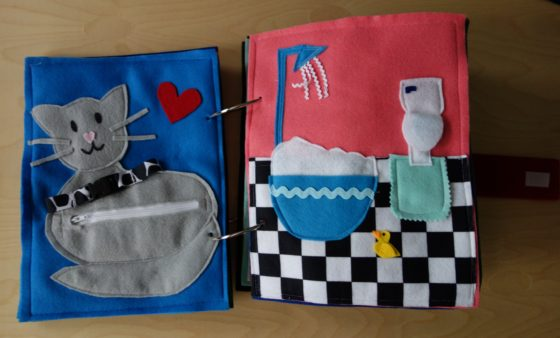 Finished Felt Quiet Books 4a - Mamma Kitty and Bathroom