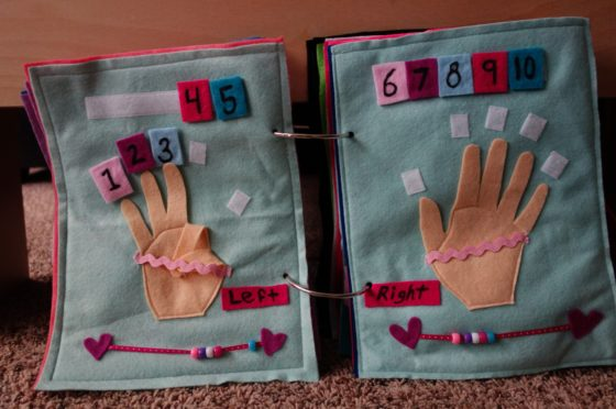 Finished Felt Quiet Books 5 - Let's make finger numbers spread