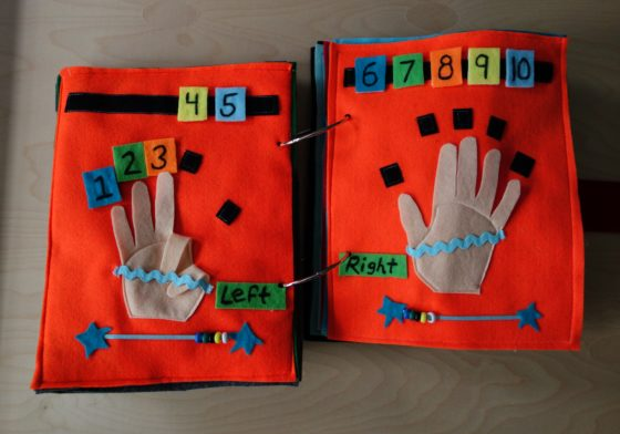 Finished Felt Quiet Books 5a - Let's make finger numbers