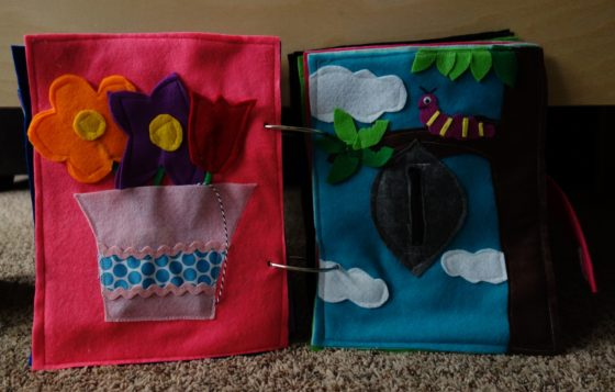 Finished Felt Quiet Books 7 - Flowers and Caterpillar