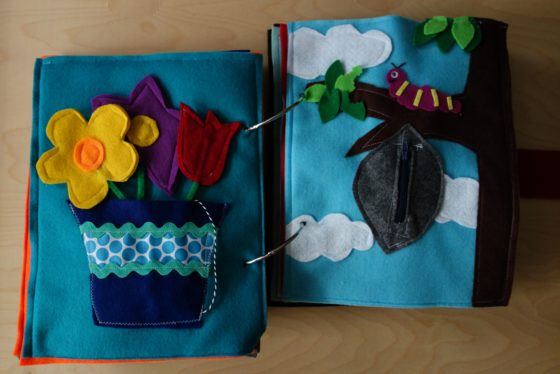 Finished Felt Quiet Books 7a - Flowers and Caterpillar