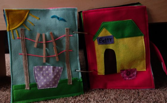 Finished Felt Quiet Books 8 - Clothes Pins and Dog House