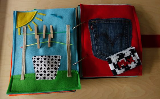 Finished Felt Quiet Books 8a - Clothes Pins and Pocket Wallet