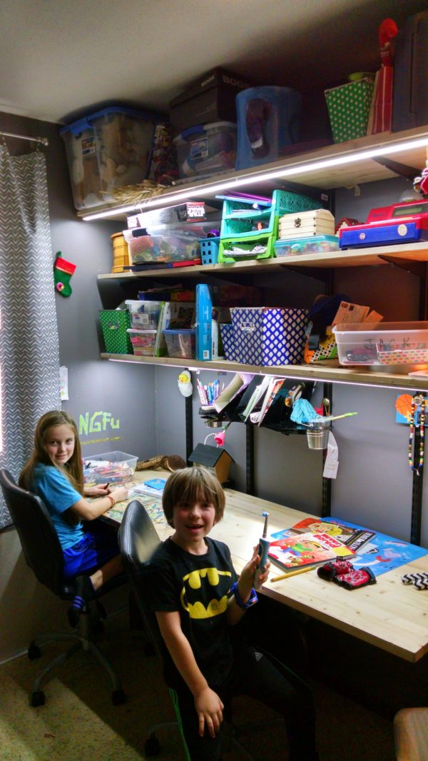 Kids Study Desk & Toy Storage with LED Strip Lighting 1