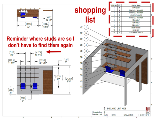 Kids shelf bracket work desk drawing for shopping list and dimensions