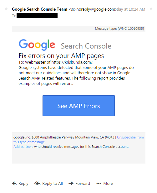 GOOGLE SEARCH CONSOLE - AMP Error Validation Email