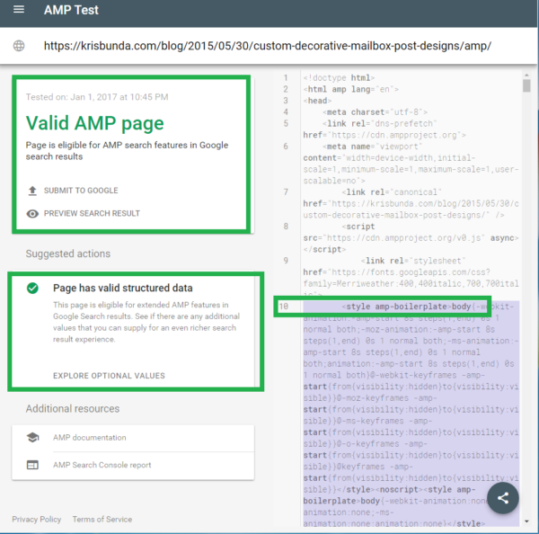 GOOGLE SEARCH CONSOLE - AMP Page now with Valid Structured Data