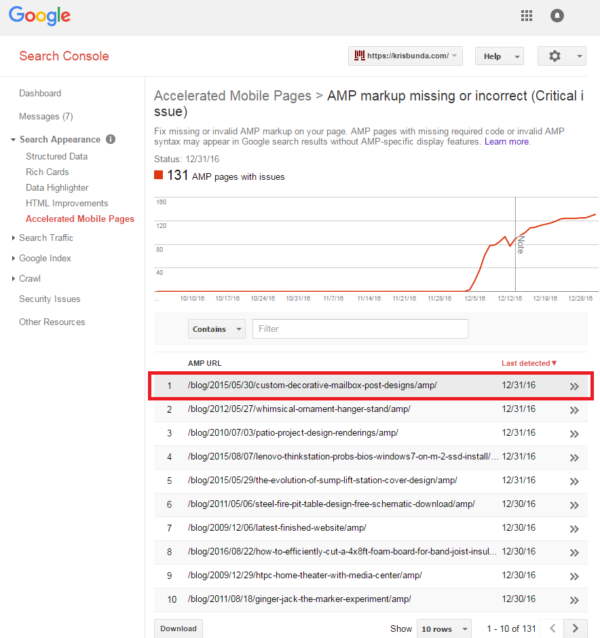 GOOGLE SEARCH CONSOLE - AMP Pages with Critical Error Issues (list)