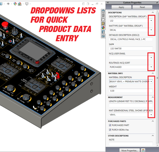 CAD modeling - Single-Point Product Data Entry User Interface - Dropdown Lists in the CAD UX