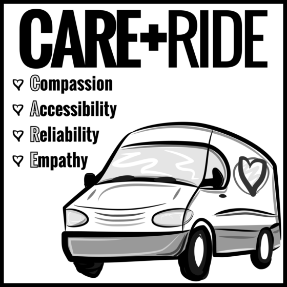 CARE RIDE LOGO - SQUARE SOCIAL ICON BW 1200px