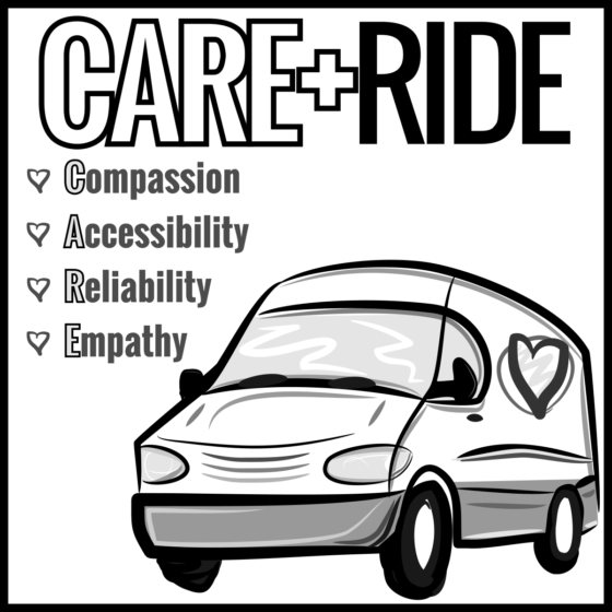 CARE RIDE LOGO - SQUARE SOCIAL ICON BW2 1200px