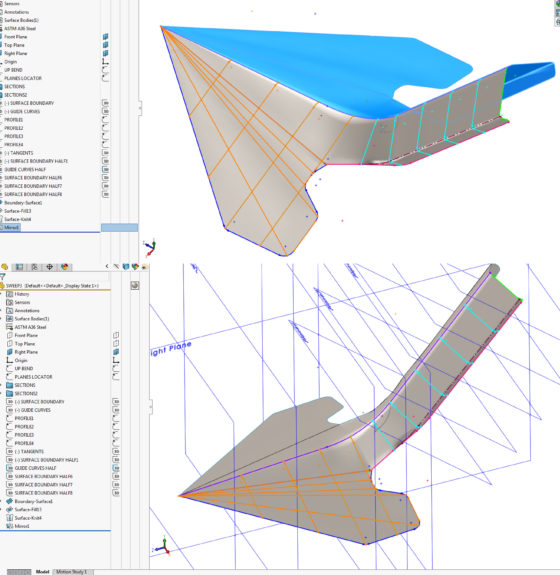 CAD Surface Modeling - Creating Surface Bodies that will thicken