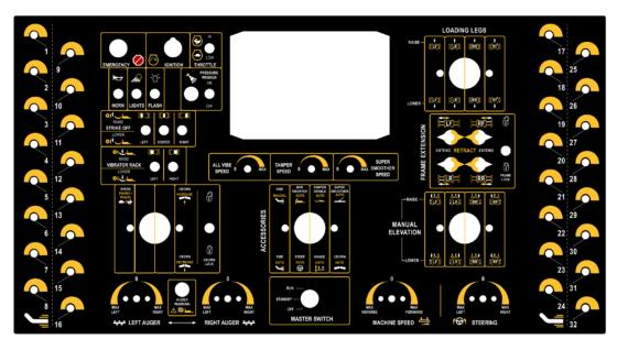 UX Design - Machine Controls Panel Decal Graphic (Slip-Form Paver)