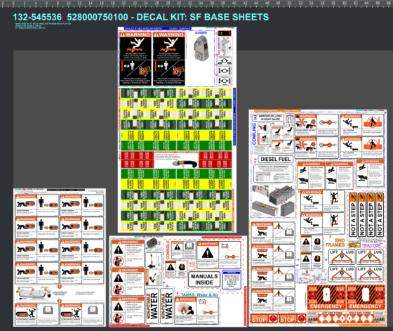 DESIGNING A MACHINE DECALS PACKAGE - SHEETS AS BASE KIT 1