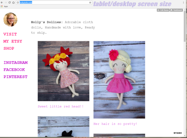 HOLLYDOLLS TUMBLR-HOSTED WEBSITE RESPONSIVE - DESKTOP