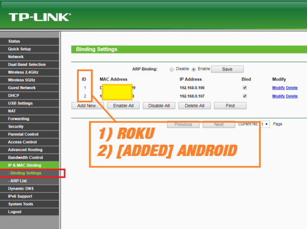 WIFI ROUTER - BIND MAC ADDRESS TO IP TO GET ANDROID PHONE CONNECTED TO INTERNET 2