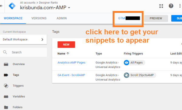 GTM (Google Tag Manager) AMP Container snippets 1