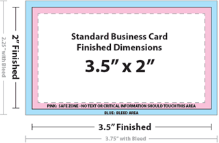 "Business Card Size Template (typically 3.5"" by 2"")"