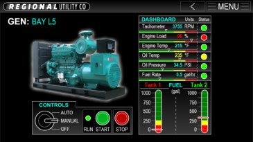 GENERATORS GUI Screen from imaginary utility company's diesel generator controls and feedback UI Design prototype, made in Adobe XD by Kris Bunda