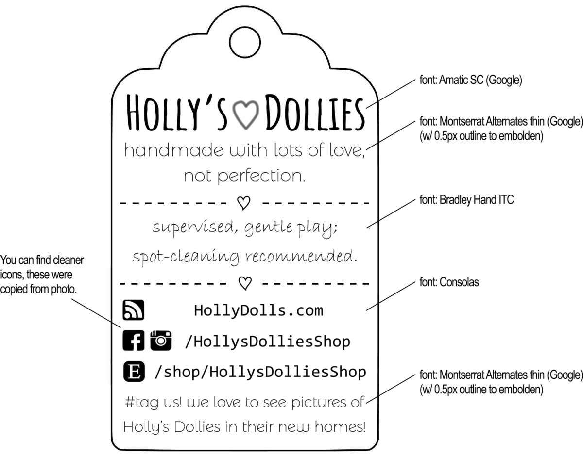 HOLLY'S DOLLIES BOX TAG - (Annoying) STYLE GUIDE