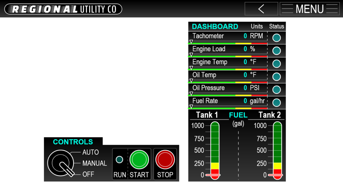 Energy Utility Diesel Generator Graphical Controls Interface GUI Adobe XD Prototype - CONTROLS-GEN2
