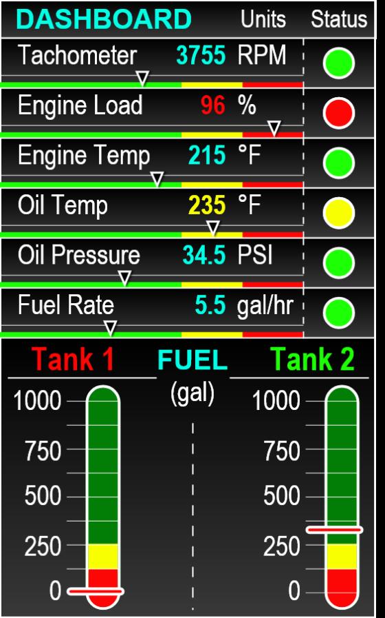 Controls UI - DASHBOARD - Diesel Generator GUI gauges feedback cluster, incl. fuel tanks, oil & engine temp, etc.