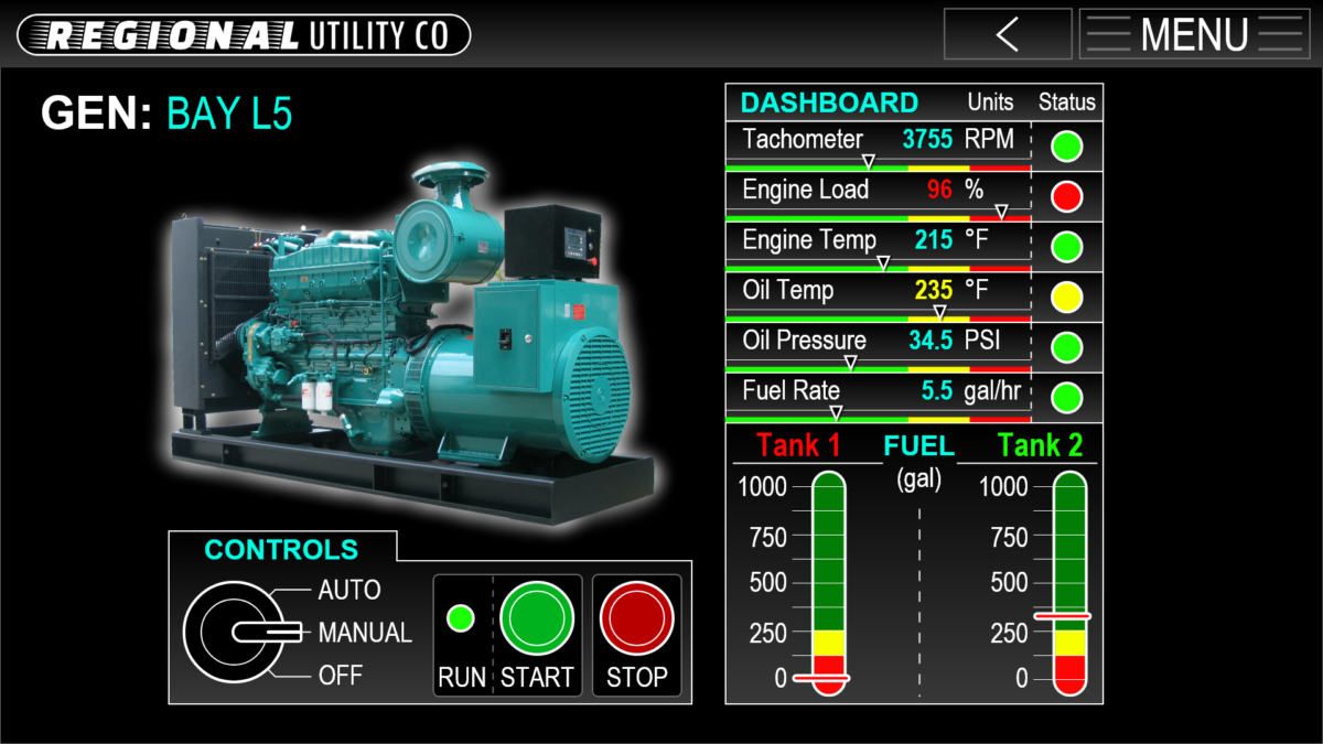Energy Utility Diesel Generator Graphical Controls Interface GUI Adobe XD Prototype - GENERATORS